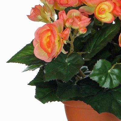 Kunstplant Begonia Zalm - H 25cm - Terracotta sierpot - Mica Decorations