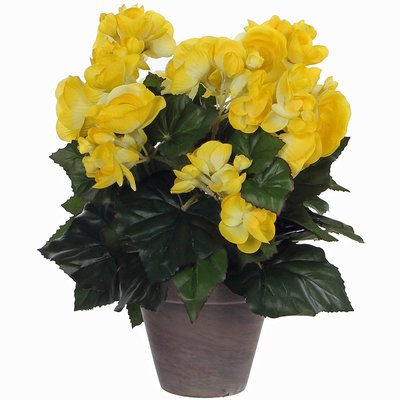 Kunstplant Begonia Geel - H 30cm - Keramiek sierpot - Mica Decorations