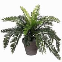 Kunstplant Palm Cycas Groen - H 37cm - Keramiek sierpot - Mica Decorations