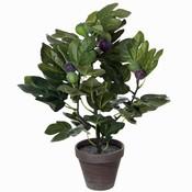 Kunstplant Vijg Groen - H 50cm - Keramiek sierpot - Mica Decorations