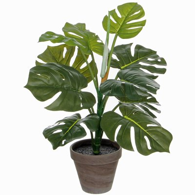 Kunstplant Philodendron Groen - H 48cm - Keramiek sierpot - Mica Decorations