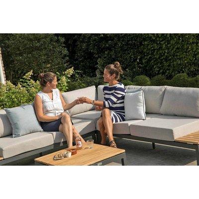Loungeset 'Villa' met hoekzitting antraciet - Inclusief kussens - Exotan