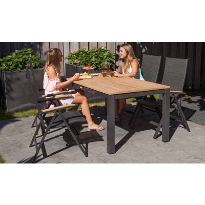 Memphis verstelbare dining tuinstoel - Grijs / Antraciet - Exotan