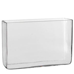 Handgemaakte glazen accubak vaas Britt - Transparant -  H 20cm - Mica Decorations