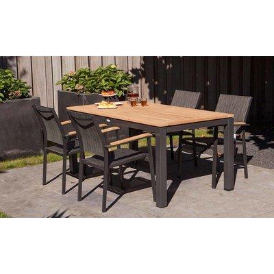 Memphis stapelbare dining tuinstoel - Grijs / Antraciet - Exotan