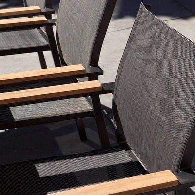 Memphis stapelbarer Dining Gartenstuhl - Grau / Anthrazit - Exotan