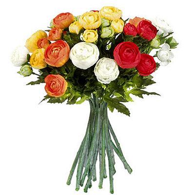Kunstbloemen Ranonkel boeket Oranje-Rood-Wit - H 30cm - Mica Decorations