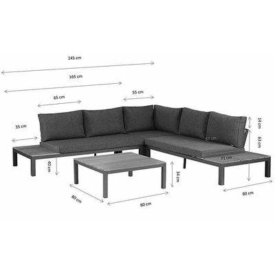 Lounge-Set 'La Vida' - Anthrazit Aluminium - Inklusive Kissen - Exotan