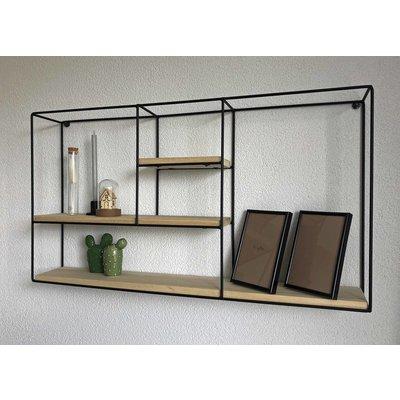 Wandregal Miami - Schwarz - Größe 71 x 11 x 39 cm - Mica Decorations