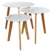 Set van 3 plantentafels - Wit - Grootste formaat H45cm / D48cm - Mica Decorations