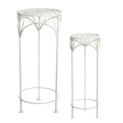 Set van 2 smeedijzeren plantentafels Sissy - Wit - Mica Decorations