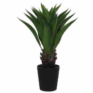 Kunstplant Agave Groen - H 80cm - Kunststof sierpot - Mica Decorations