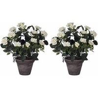 2 stuks - Kunstplant Rozenstruik Wit - H 33cm - Keramiek sierpot - Mica Decorations
