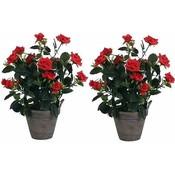 2 stuks - Kunstplant Rozenstruik Rood - H 33cm - Keramiek sierpot - Mica Decorations
