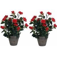 2 stuks - Kunstplant Rozenstruik Rood- H 33cm - Keramiek sierpot - Mica Decorations