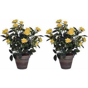 2 stuks - Kunstplant Rozenstruik Geel- H 33cm - Keramiek sierpot - Mica Decorations