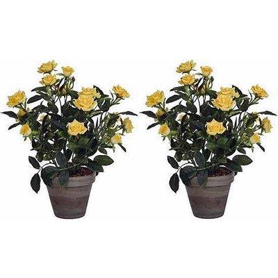 2 stuks - Kunstplant Rozenstruik Geel - H 33cm - Keramiek sierpot - Mica Decorations