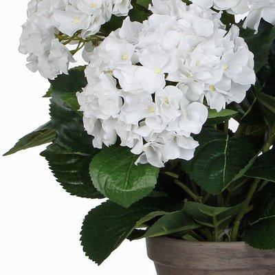 2 stuks - Kunstplant Hortensia Wit - H 45cm - Keramiek sierpot - Mica Decorations