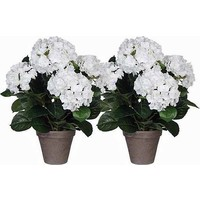 2 Stück - Künstliche Pflanze Hortensie Weiß - H 45 cm - Keramiktopf - Mica Decorations