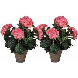 2 stuks - Kunstplant Hortensia Roze - H 45cm - Keramiek sierpot - Mica Decorations