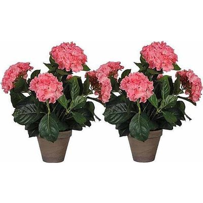 2 Stück - Künstliche Pflanze Hortensie Rosa - H 45 cm - Keramiktopf - Mica Decorations