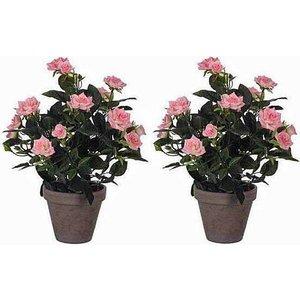 2 stuks - Kunstplant Rozenstruik Roze- H 33cm - Keramiek sierpot - Mica Decorations