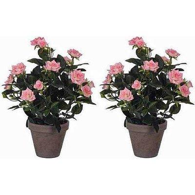 2 stuks - Kunstplant Rozenstruik Roze - H 33cm - Keramiek sierpot - Mica Decorations