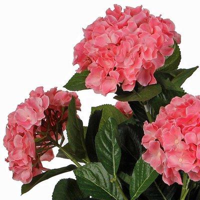 2 stuks - Kunstplant Hortensia Roze - H 40cm - Keramiek sierpot - Mica Decorations