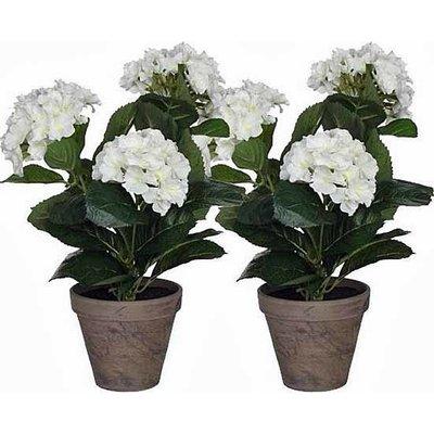 2 stuks - Kunstplant Hortensia Wit - H 40cm - Keramiek sierpot - Mica Decorations