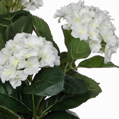 2 Stück - Künstliche Pflanze Hortensie Weiß - H 40 cm - Keramiktopf - Mica Decorations