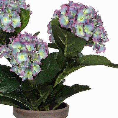 2 stuks - Kunstplant Hortensia Blauw - H 40cm - Keramiek sierpot - Mica Decorations