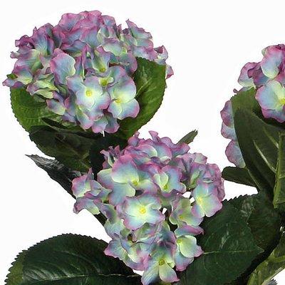 2 Stück - Künstliche Pflanze Hortensie Blau - H 40 cm - Keramiktopf - Mica Decorations