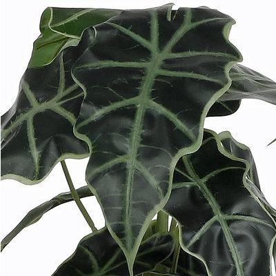 Kunstplant Alocasia Groen - H 50cm - Kunststof sierpot - Mica Decorations