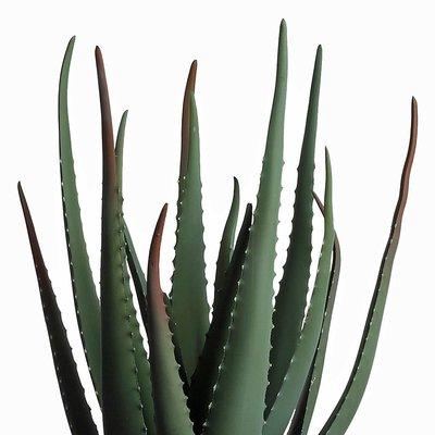 Künstliche Pflanze Aloë Vera Grün - H 60cm - Kunststoff Ziertopf - Mica Decorations