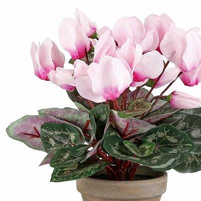 Künstliche Pflanze Alpenveilchen Hellrosa - H 30 cm - Keramiktopf - Mica Decorations