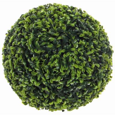 Künstliche 27cm Pflanze Buxus Kugel Teeblatt Grün - D 27cm - Für außen und innen - Mica Decorations