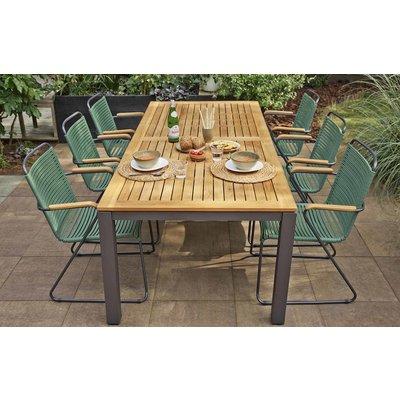Ripp luxe dining tuinstoel met teakhouten armleuningen - Groen - Exotan