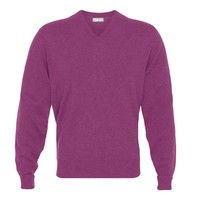Cashmere V-Neck Jumpers - Loganberry