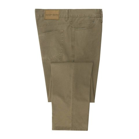 Brushed Cotton Jeans - Camel