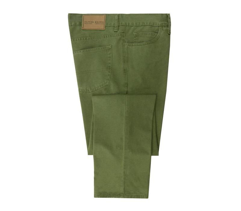 Brushed Cotton Jeans - Moss