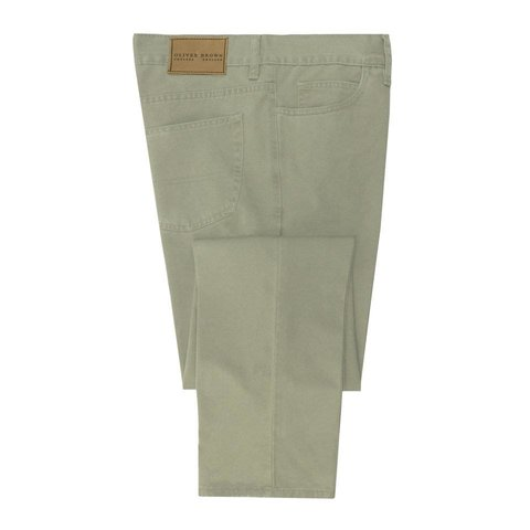 Brushed Cotton Jeans - Stone