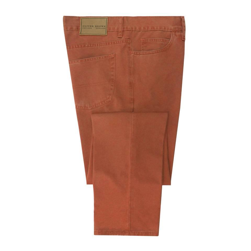 Brushed Cotton Jeans - Mandarin