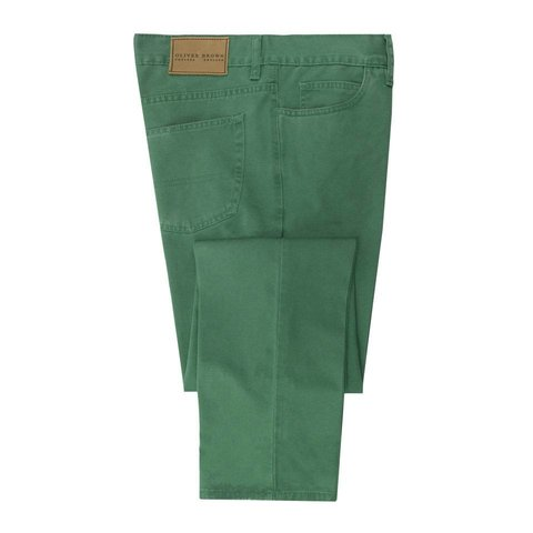 Brushed Cotton Jeans - Emerald