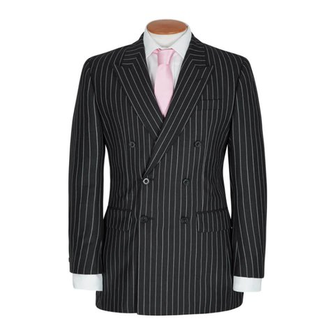 Double Breasted City Suit, Chalkstripe - Grey