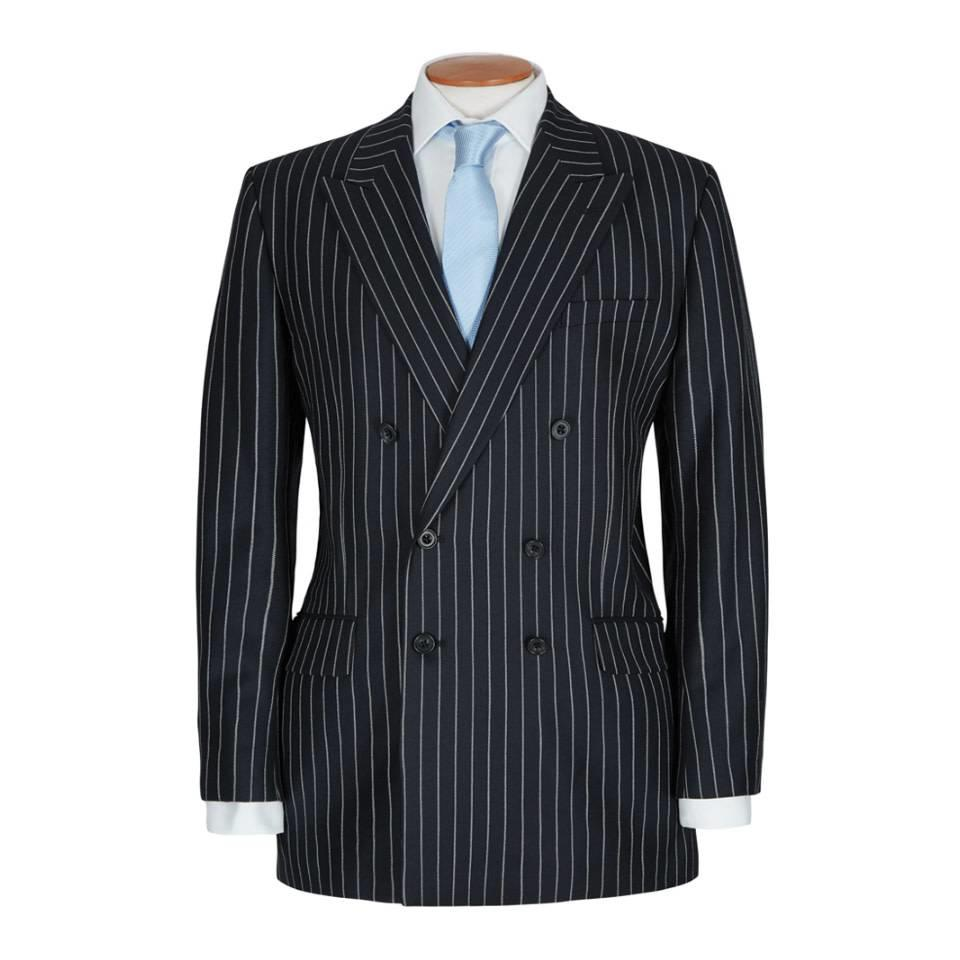 Double Breasted City Suit, Chalkstripe - Navy
