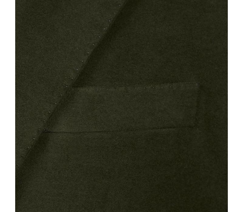 Single Breasted Moleskin Jacket - Olive