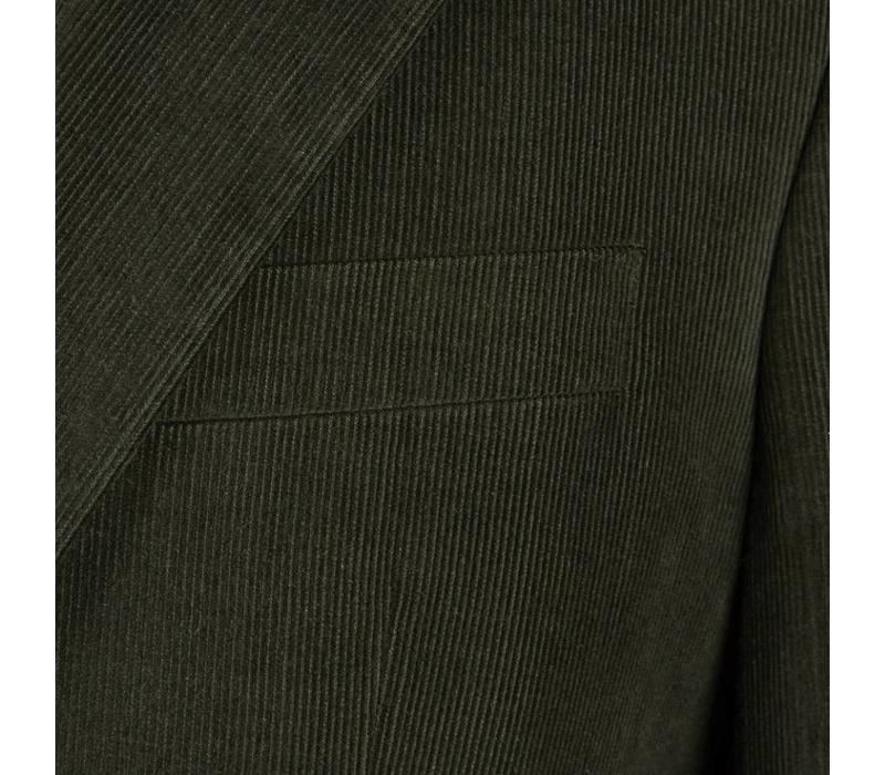 Single Breasted Needlecord Jacket - Olive