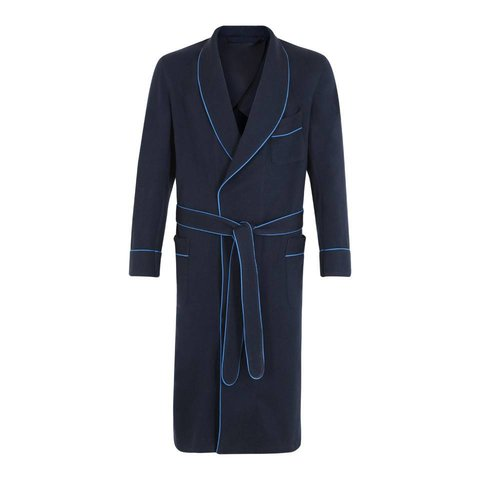 Cashmere Dressing Gown - Midnight Blue