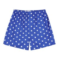 Cotton Boxer Shorts, Stars - Royal Blue