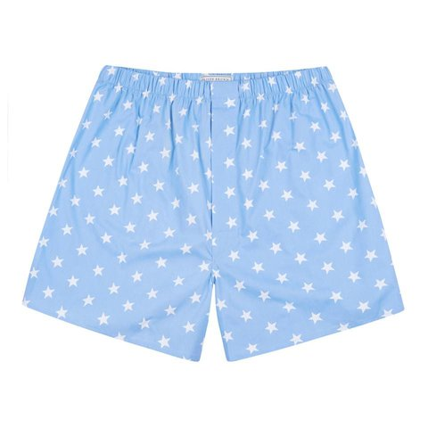 Cotton Boxer Shorts, Stars - Sky Blue